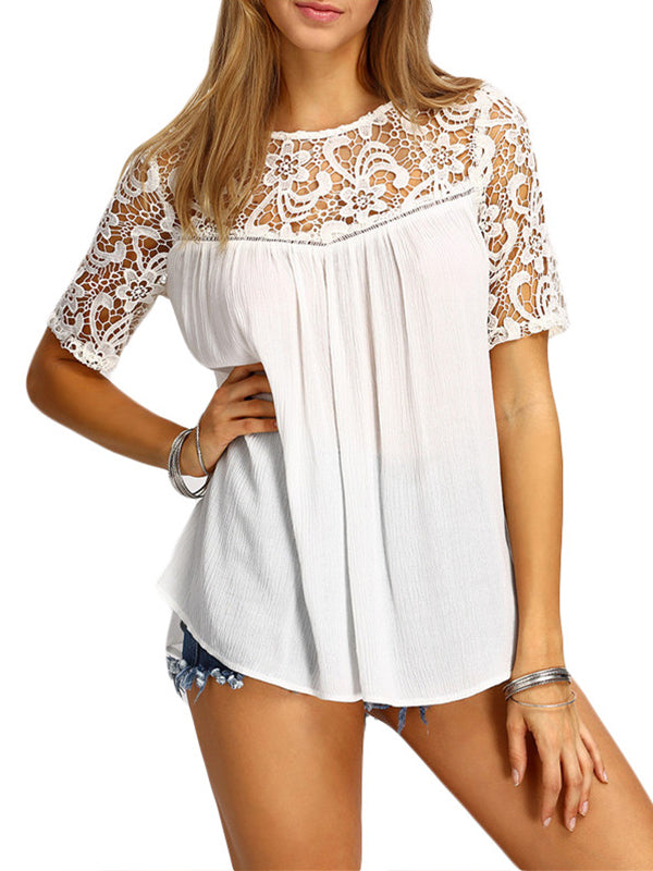 Lace Solid Round Neck Short Sleeve Casual Blouse