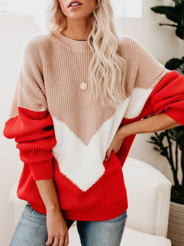 Round Neck Casual Striped Long Sleeve Sweater