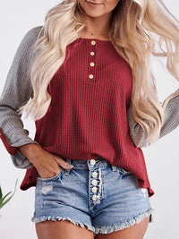 Waffle Color Block Button Casual Loose Long Sleeve T-Shirt Top - Luckinchic