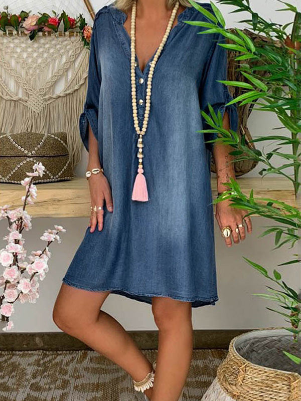 Casual V Neck Button Solid Half Sleeve Denim Dress - Luckinchic