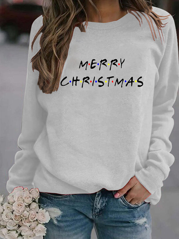 Merry Christmas Letter Print Round Neck Long Sleeve Sweatshirt Top - Luckinchic