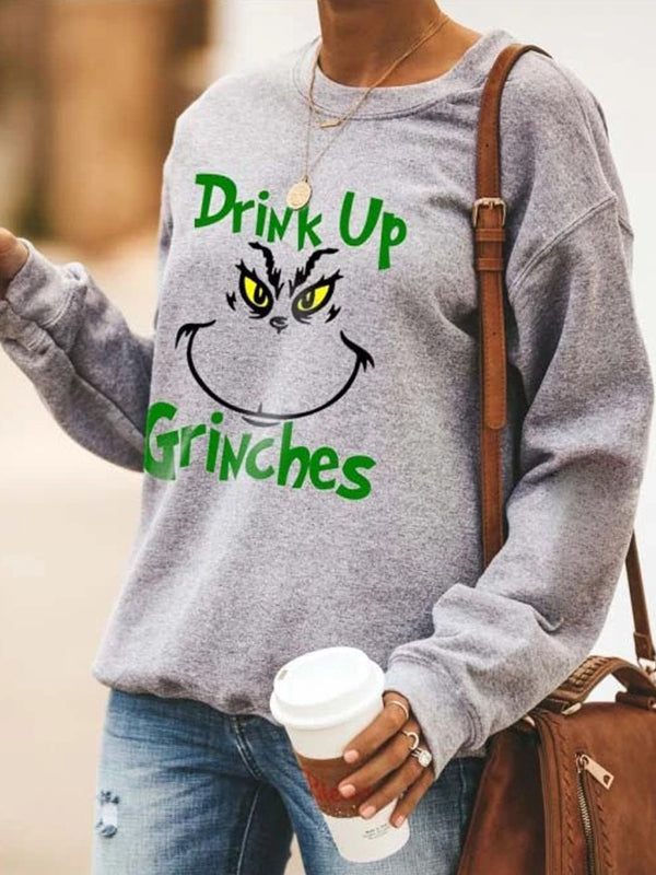 Casual Crew Neck Grinch Stole Christmas Print Long Sleeve Sweatshirt Top - Luckinchic