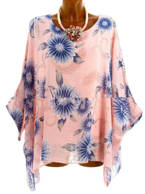Loose Casual Half Sleeve Round Neck Blouse