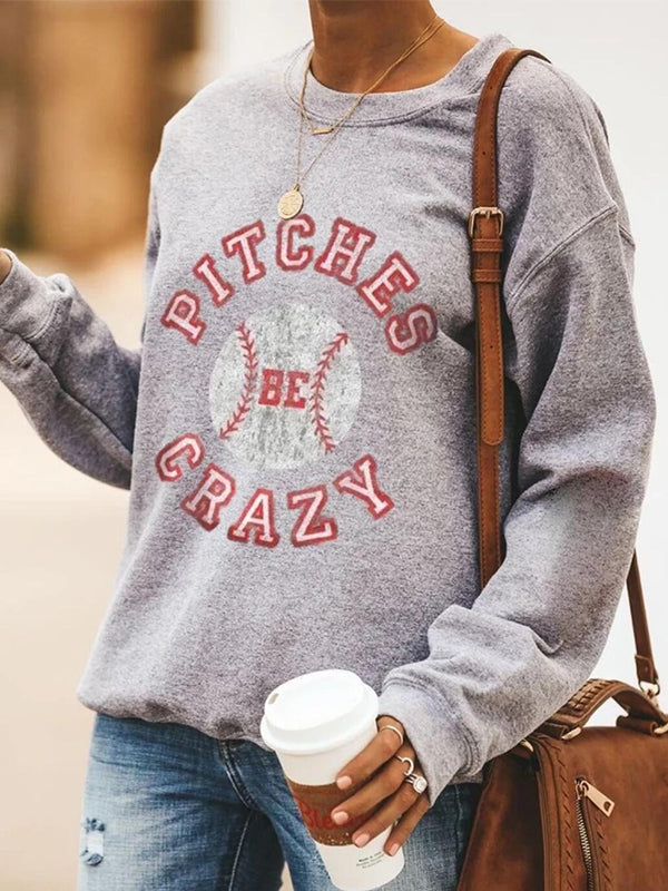 Casual Round Neck Graphic Letter Print Long Sleeve Pullover Sweatshirt Top - Luckinchic
