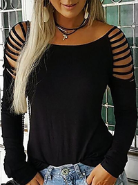 Casual Round Neck Long Sleeve T Shirts - Luckinchic - LuckinChic.com
