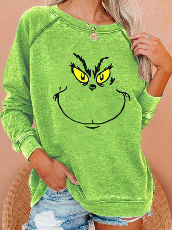 Casual Round Neck Christmas Graphic Print Long Sleeve Sweatshirt Pullover Top - Luckinchic