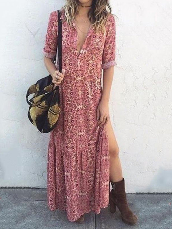 Sexy V Neck Floral Print Long Sleeve Maxi Dress - Luckinchic