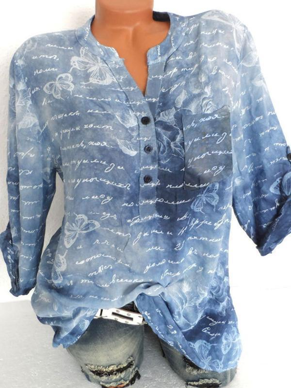 Butterfly Print Tops Round Neck Blouse