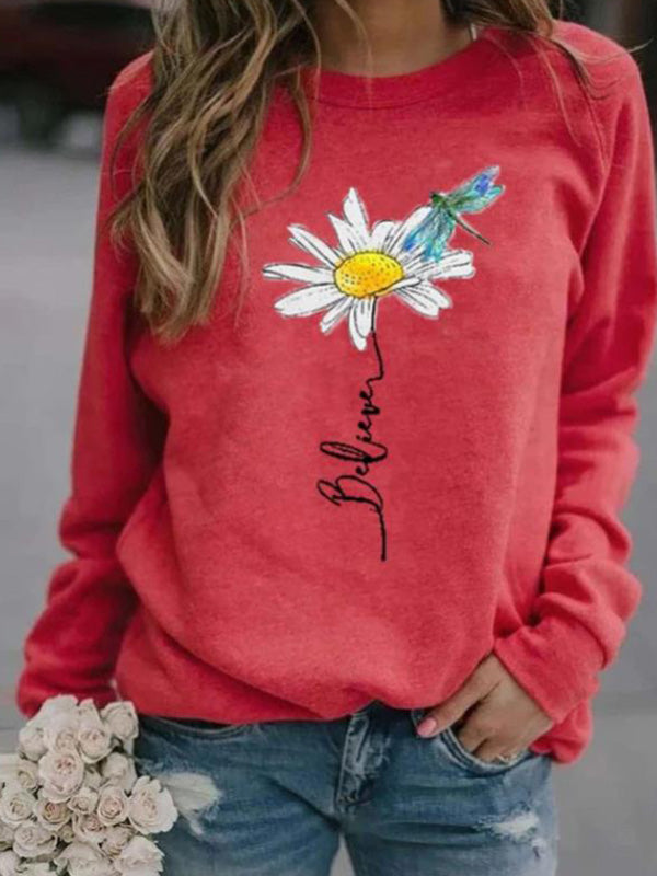 Casual Round Neck Daisy Printed Loose Pullover Long Sleeve Top - Luckinchic