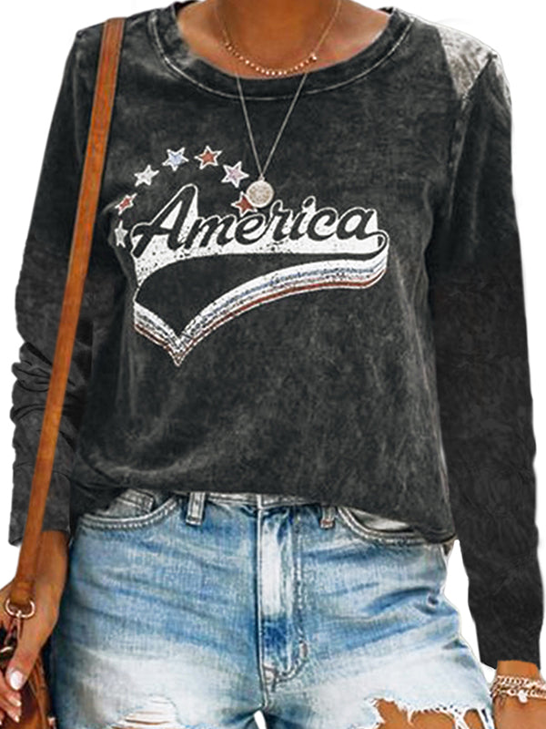 Casual Round Neck America Letters Print Long Sleeve T-Shirt - Luckinchic