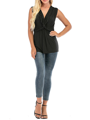 Solid Sexy Twisted Vest Bottoming T Shirt - Luckinchic
