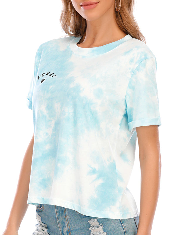 Casual Round Neck Letter Tie-Dye Printed Short T-Shirt - Luckinchic
