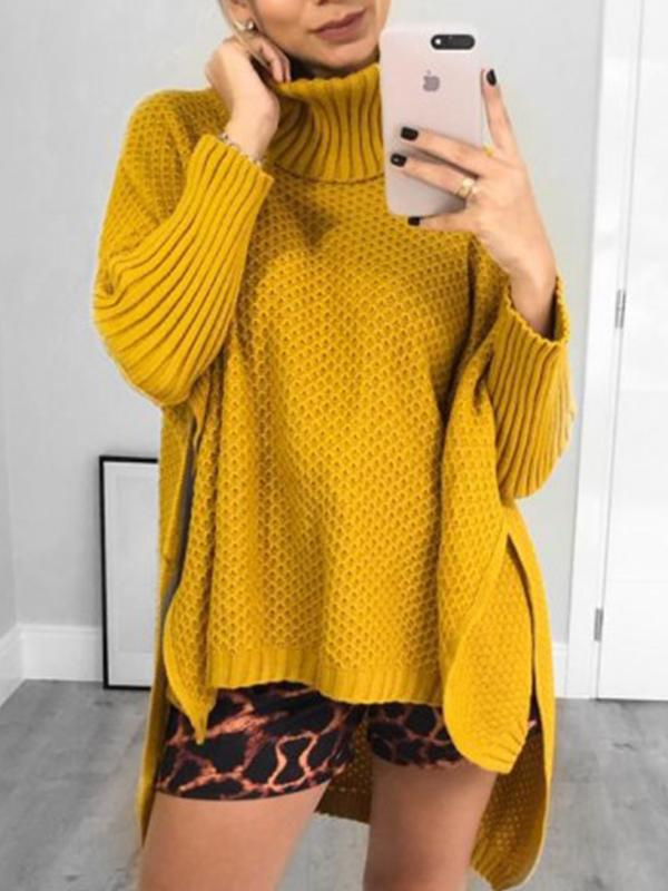 Casual High Neck Solid Long Sleeve Sweater