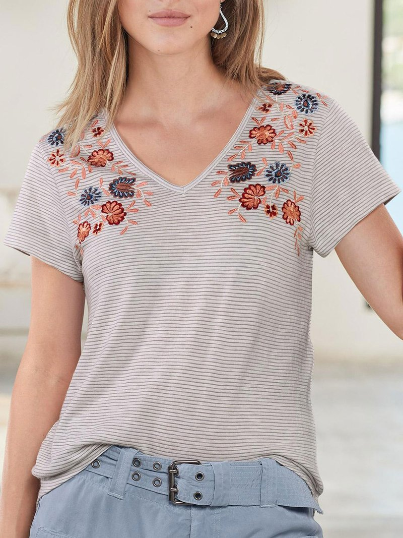 Embroidered Bohemian Floral Round Neck Short Sleeve T Shirts