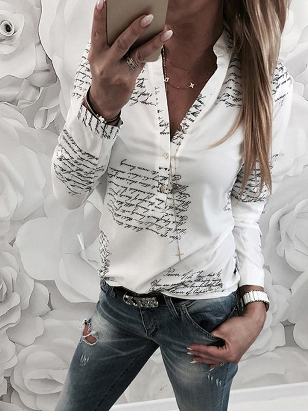 Fashionable Letters Printed Shirt Collar Long Sleeve Blouse - LuckinChic.com