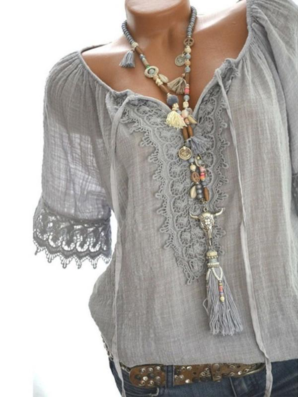 Casual Solid Lace Short Sleeve Blouses