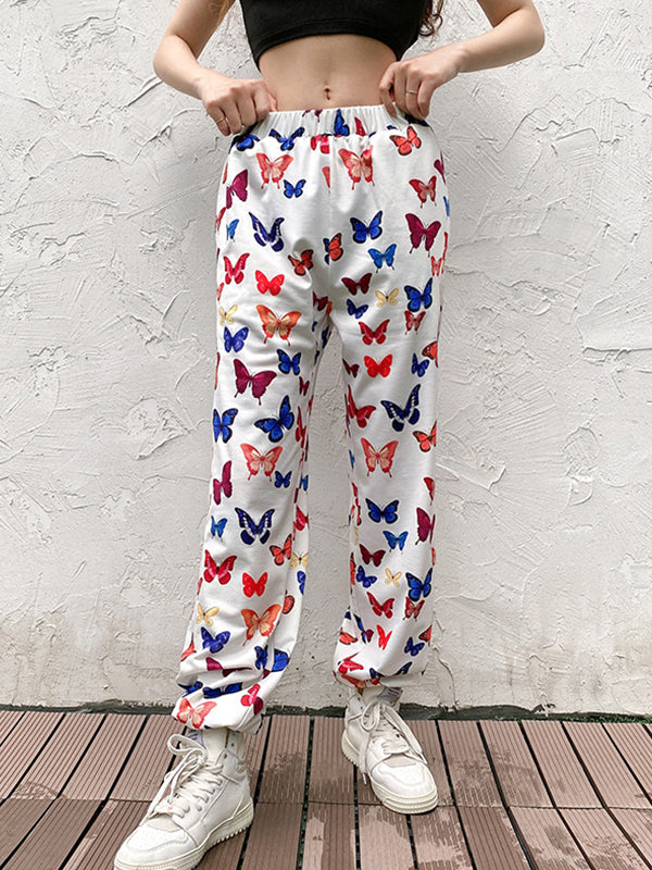Casual High Waist Butterfly Print Hip Hop Pants With Pocket - Luckinchic