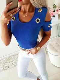 Casual U-Neck Solid Short Sleeve Cutout Cold Shoulder T-Shirt - Luckinchic