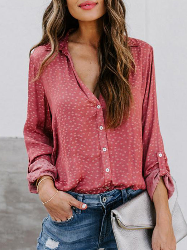Casual V Neck Loose Star Printed Long Sleeve Shirt - Luckinchic