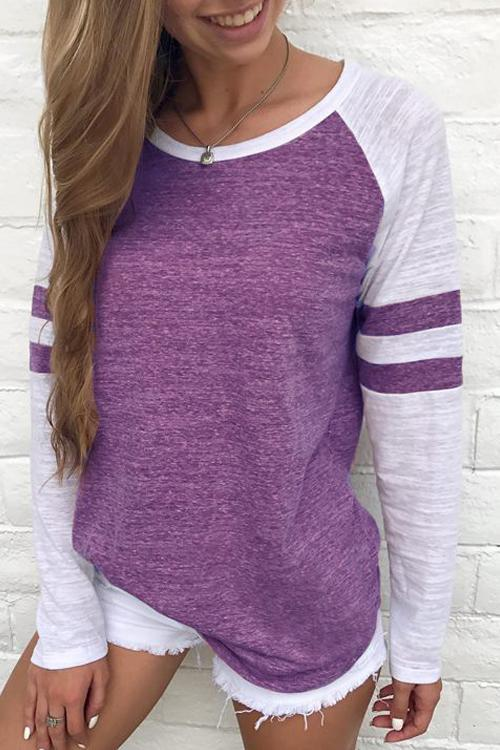 Leisure Round Neck Patchwork T-shirt - LuckinChic.com
