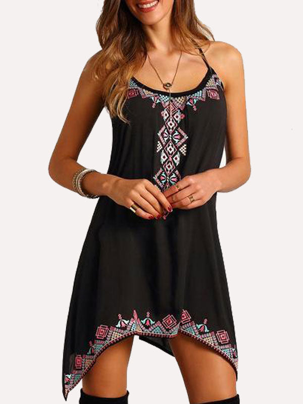 Halter Asymmetric Hem Embroidered Flared Casual Dress