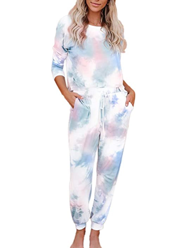Tie Dye 2 Piece Sweatsuit Set Long Sleeve Pullover and Drawstring Sweatpants Sets - Luckinchic