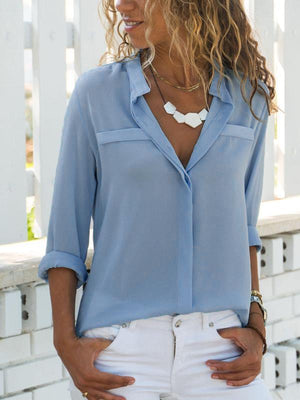 Fashion Solid Casual Fold Over Collar Shirt