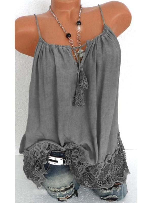 Faded Wash Lace Trim Sleeveless V Neck Vest