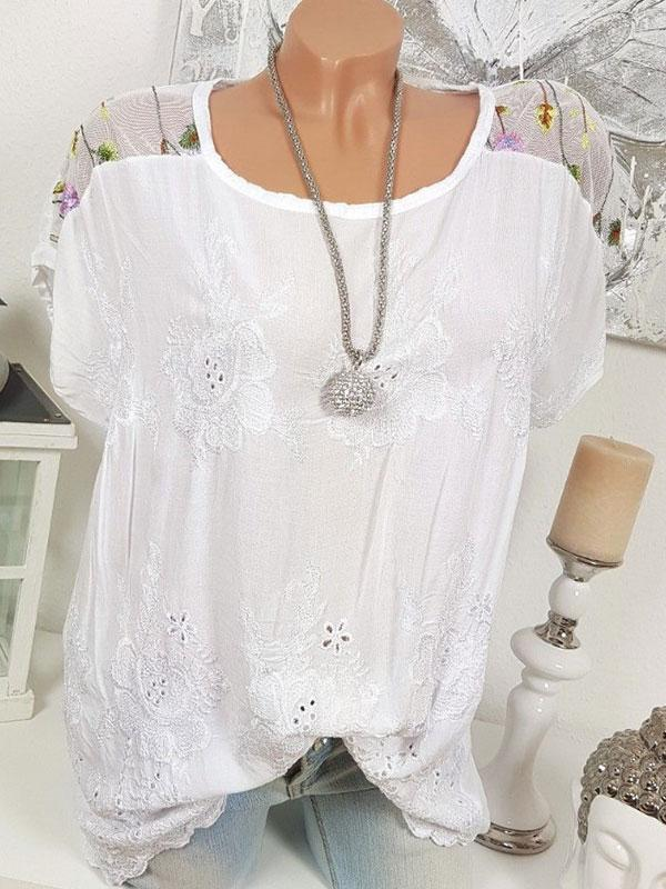 Casual Laser Cut Crew Neck Short Sleeve Blouse