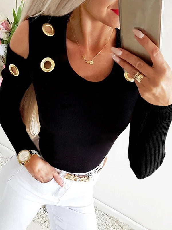 Casual U-Neck Solid Long Sleeve Cutout Cold Shoulder T-Shirt Top- Luckinchic