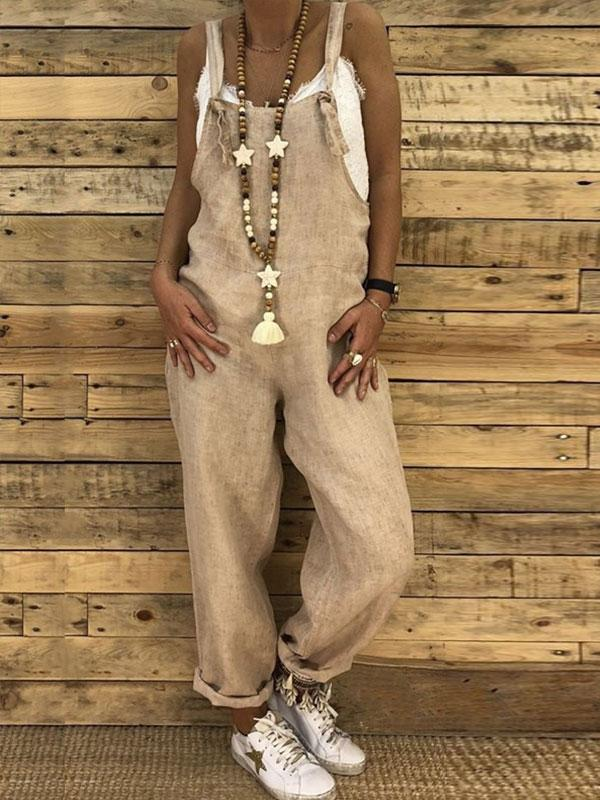 Casual Solid Color Pocket Loose Overalls Autumn Street Style Jumpsuits