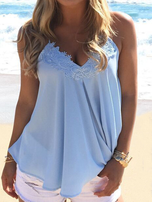 Lace Patchwork Neck Spaghetti Strap Cami Top