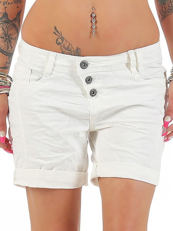 Slanted Visible Buttons Bermuda Chino Leisure Regular Slim Summer Shorts