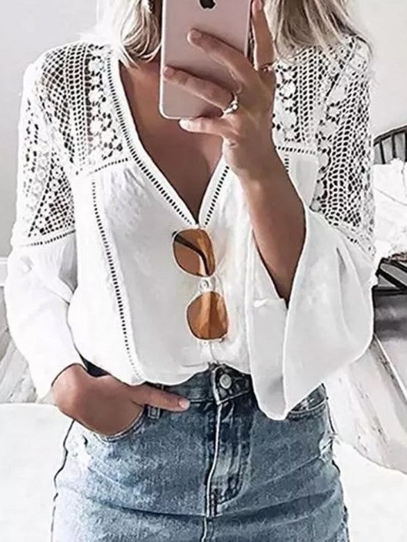 Solid Sexy V Neckline Ruffle 3/4 Sleeve Blouses