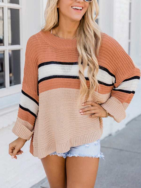 Casual Round Neck Striped Long Sleeve Loose Pullover Sweater Top - Luckinchic