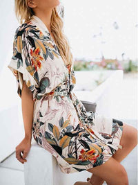 Fashion Floral V-neck Bandage Midi Dress