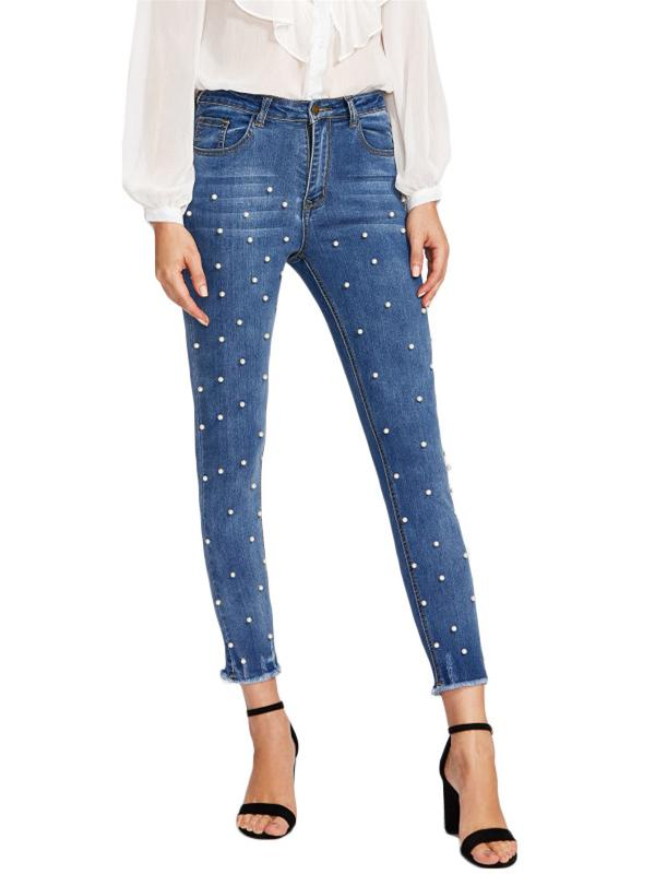 Midi Waist With Faux Pearls Jeans