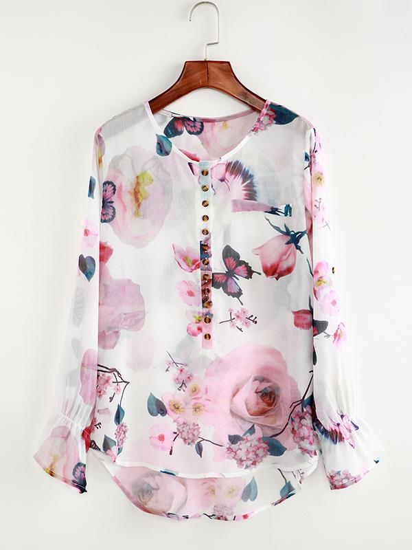 Fashionable Floral Printed Round-neck Long Sleeve Blouses