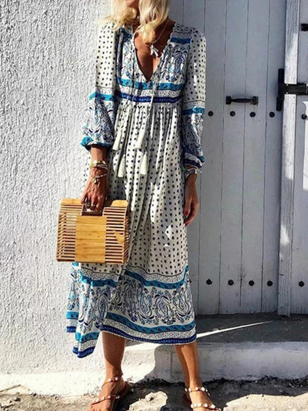 Bohemian V Neck Loose Print Long Sleeve Dress - Luckinchic