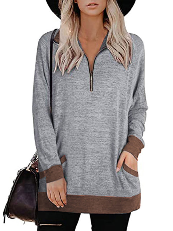 Casual Solid Color Long Sleeve Zipper Pullover Sweatshirt With Pockets - Luckinchic