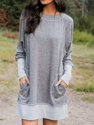 Casual Solid Color Long Sleeve Patchwork Dress - Luckinchic