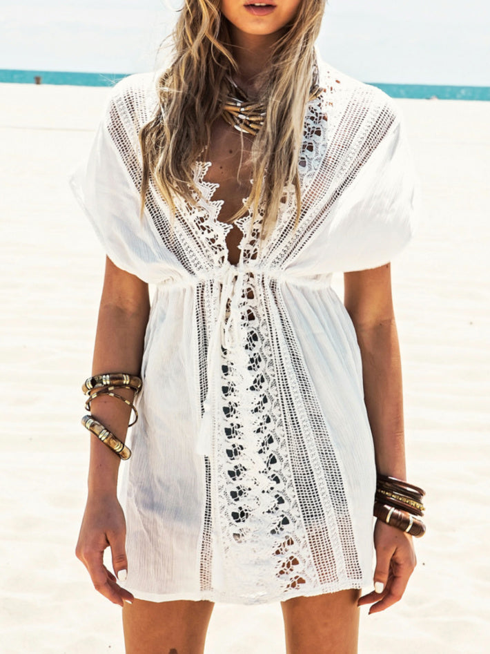 Lace Patchwork Crochet Plunging Batwing Sleeve Cover Up Dress