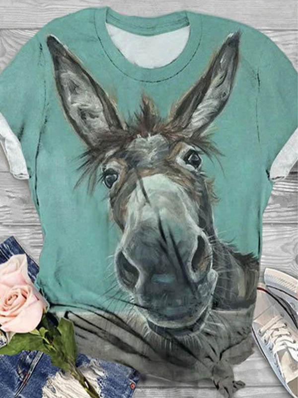 Casual Cartoon Donkey Print Paneled Short Sleeves T-Shirt - Luckinchic