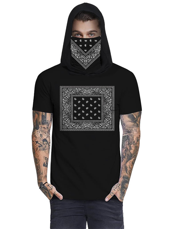 Print Hooded Casual T-Shirt With Ear Loop Face Bandana - Luckinchic