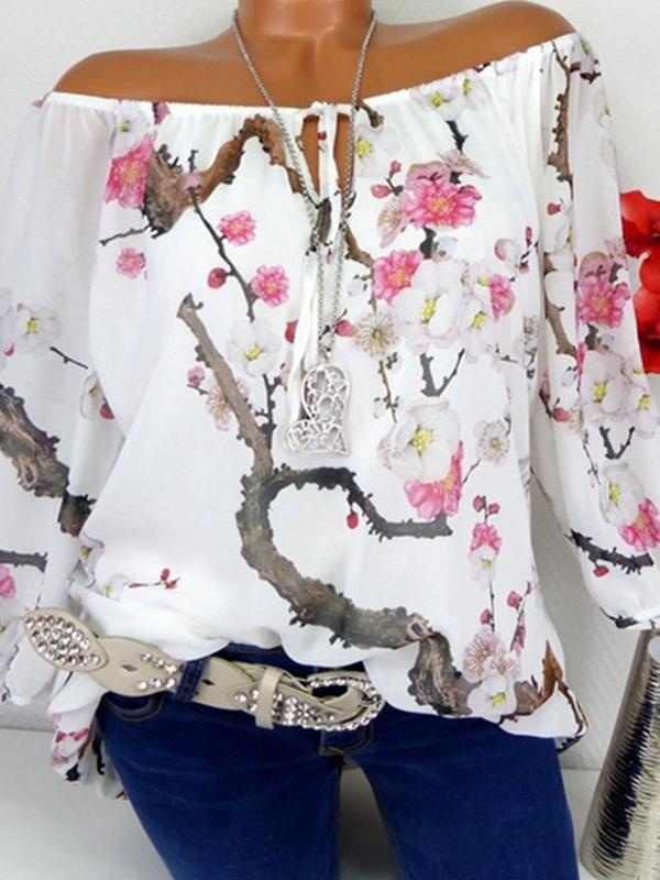 Clearance - Floral Cotton Boat Neckline Long Sleeve Blouses - Luckinchic - LuckinChic.com