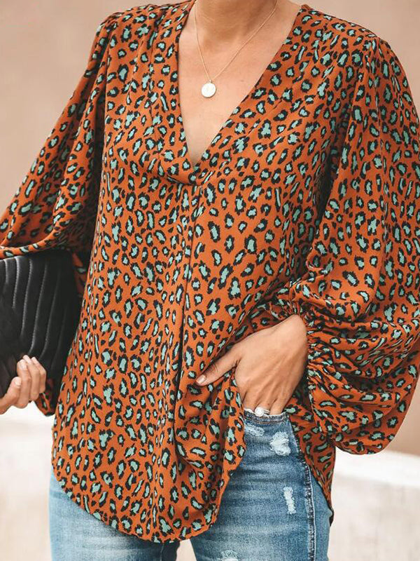 Casual V Neck Leopard Print Long Sleeve Loose Top - Luckinchic
