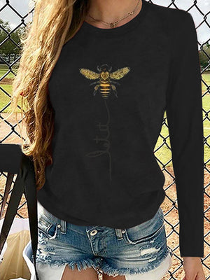 Bee Printed Round Neck Long Sleeve T-Shirt Top- Luckinchic