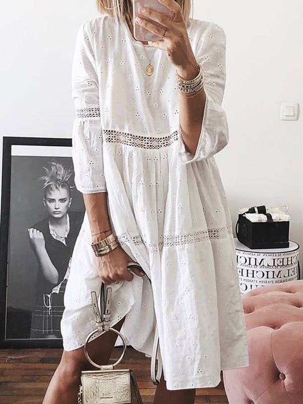 Hollow Out Round Neck Embroidered Patchwork 3/4 Sleeve Solid Dress - Luckinchic