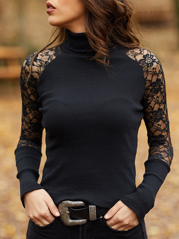Sexy Lace Patchwork Long Sleeve Solid Color Pullover Top - Luckinchic