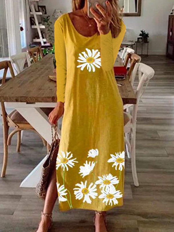 Casual Round Neck Long Sleeve Daisy Print Slit Dress - Luckinchic